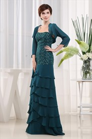 Teal Mother Of The Bride Dress, Strapless Beaded Chiffon Prom Dress