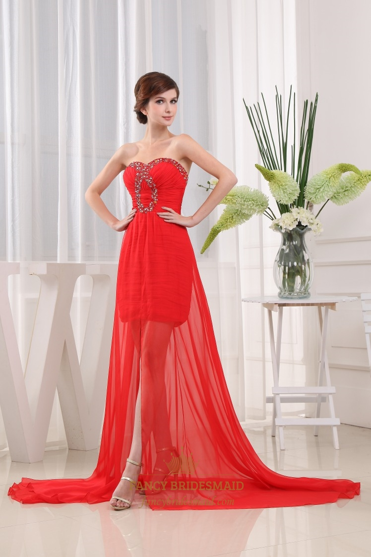 Red Chiffon Beading Sweetheart Sweep Prom Dress, Red Ruched Prom Dress
