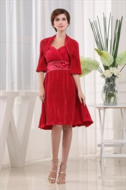 Crinkle Dresses For Women, Short Red Sweetheart Prom Dress