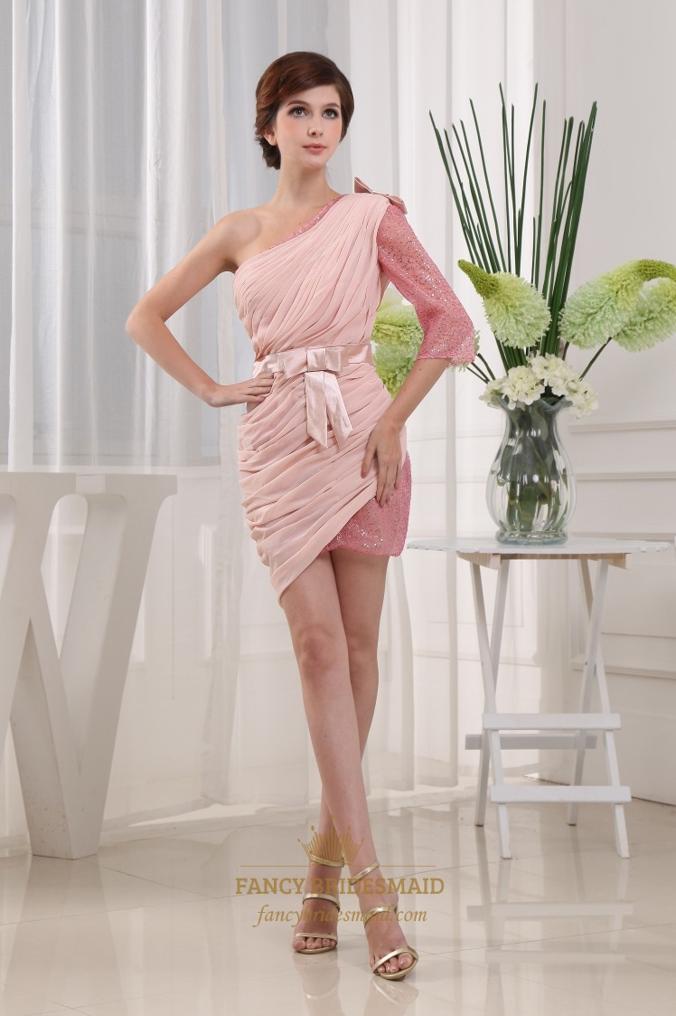 One shoulder long sleeve homecoming dress chiffon pink cocktail one shoulder long sleeve homecoming dress chiffon pink cocktail dress ombrellifo Images