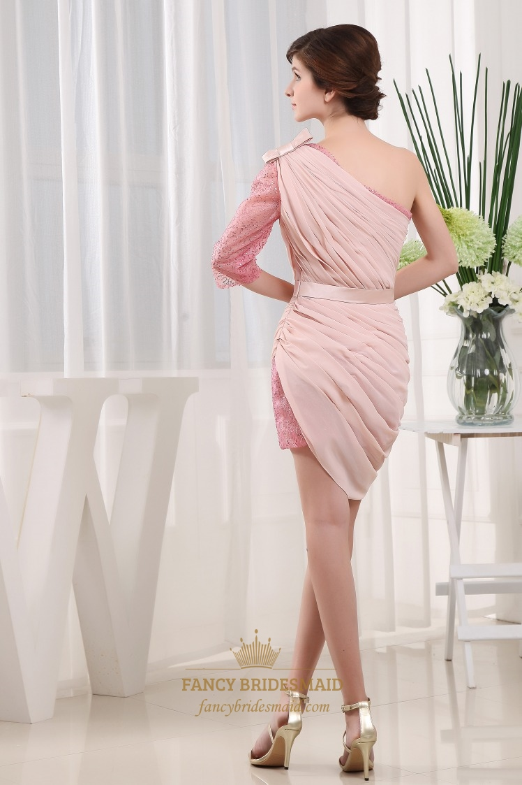One shoulder long sleeve homecoming dress chiffon pink for One shoulder long sleeve wedding dress