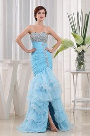 Mermaid Sweetheart Cocktail Organza Evening Dress,Tiered Organza Dress