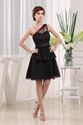 Black One Shoulder Cocktail Dress, Layering Little Black Dress