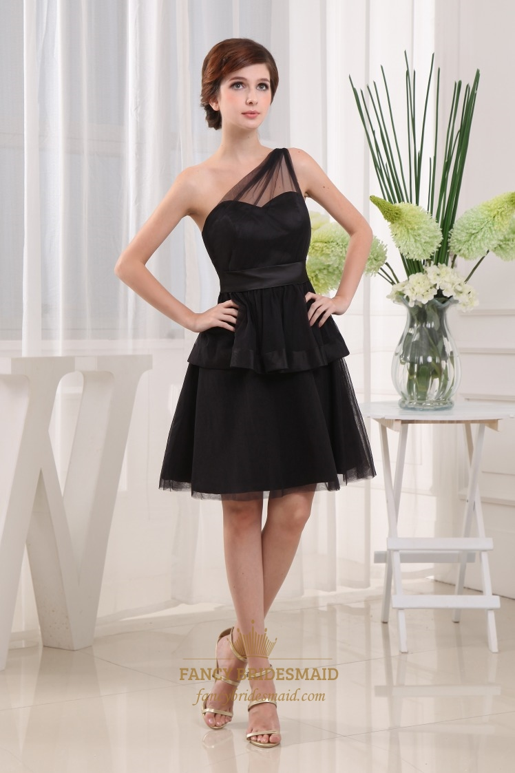 Black one shoulder cocktail dress layering little black for Little black wedding dress