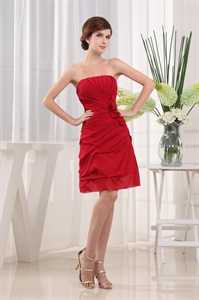 Burgundy Strapless Cocktail Dress, Strapless Ruched Homecoming Dress