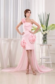 High Low Dresses With Detachable Trains, Pink One Shoulder Prom Dress