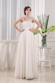 Chiffon One Shoulder Beaded Prom Dress, Lace Applique Prom Dress