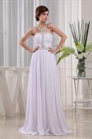 Beaded Halter Top Prom Dresses, Chiffon Beaded Illusion Prom Dress