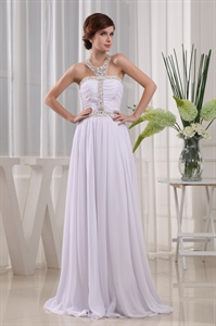 Beaded Halter Top Prom Dresses, Chiffon Beaded Illusion Prom Dress