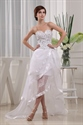 White High Low Prom Dress 2021, Strapless Sweetheart Beaded Prom Dress