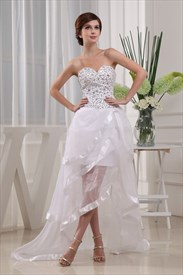 White High Low Prom Dress 2019, Strapless Sweetheart Beaded Prom Dress