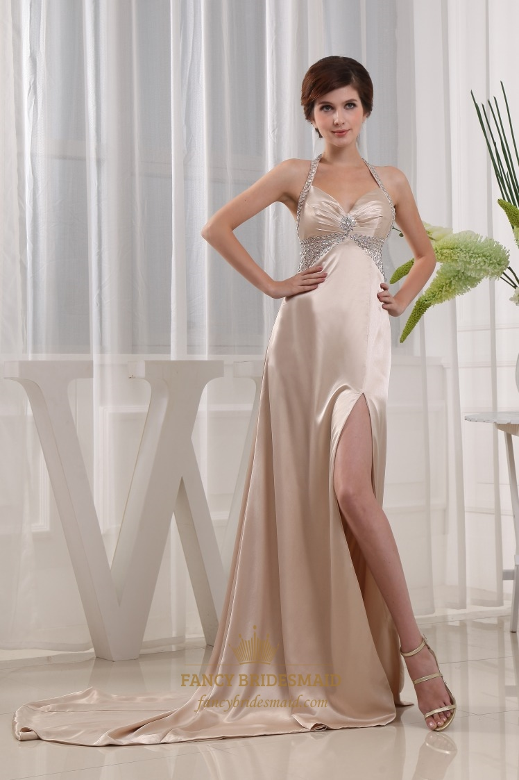 Pleated Halter Prom Dresses, Gold Halter Prom Dress With Sweep Train ...