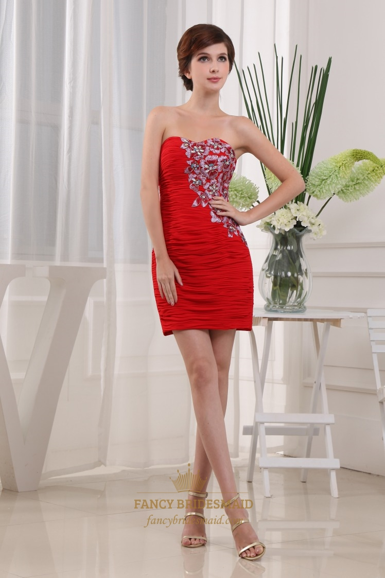 Floral-Applique Strapless Cocktail Dress, Short Red Chiffon Prom Dress