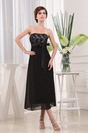 Black Chiffon Tea Length Bridesmaid Dress, Lace Chiffon Cocktail Dress