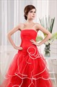 Strapless Red And White Wedding Dress, Strapless Pleated Wedding Dress