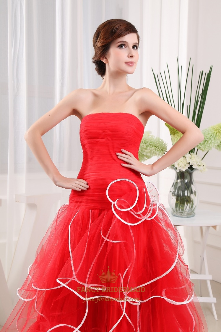 Strapless red and white wedding dress strapless pleated wedding strapless red and white wedding dress strapless pleated wedding dress ombrellifo Gallery