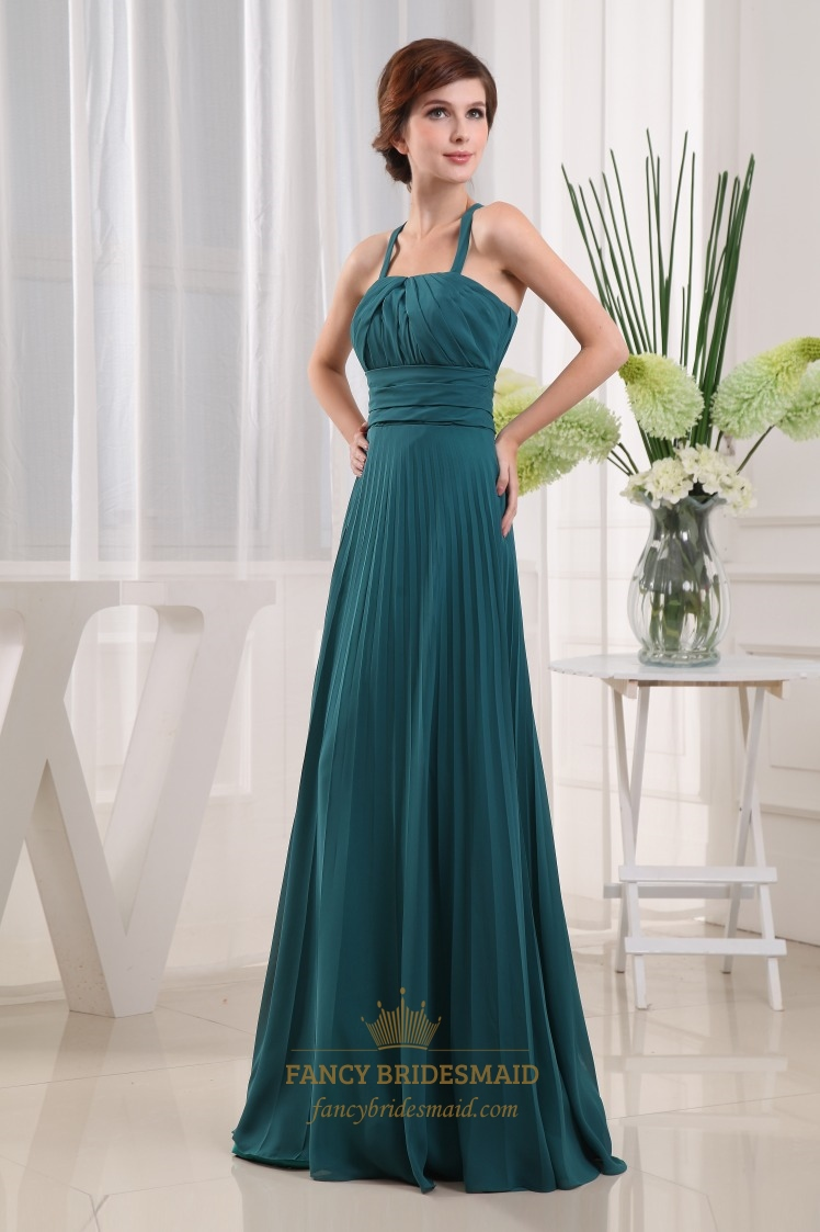 Dark Forest Green Prom Dress,Forest Green Bridesmaid Dress, Long Crinkle Chiffon Bridesmaid Dress