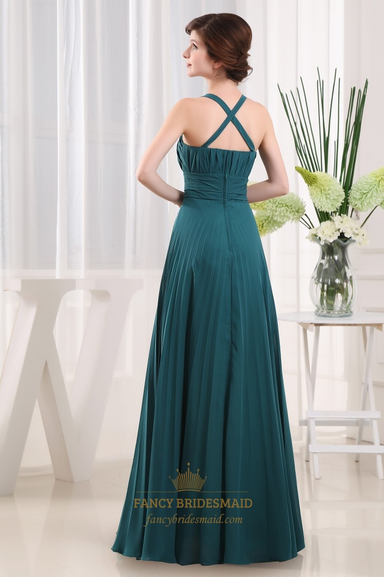 Forest Green Bridesmaid Dress Long Crinkle Chiffon