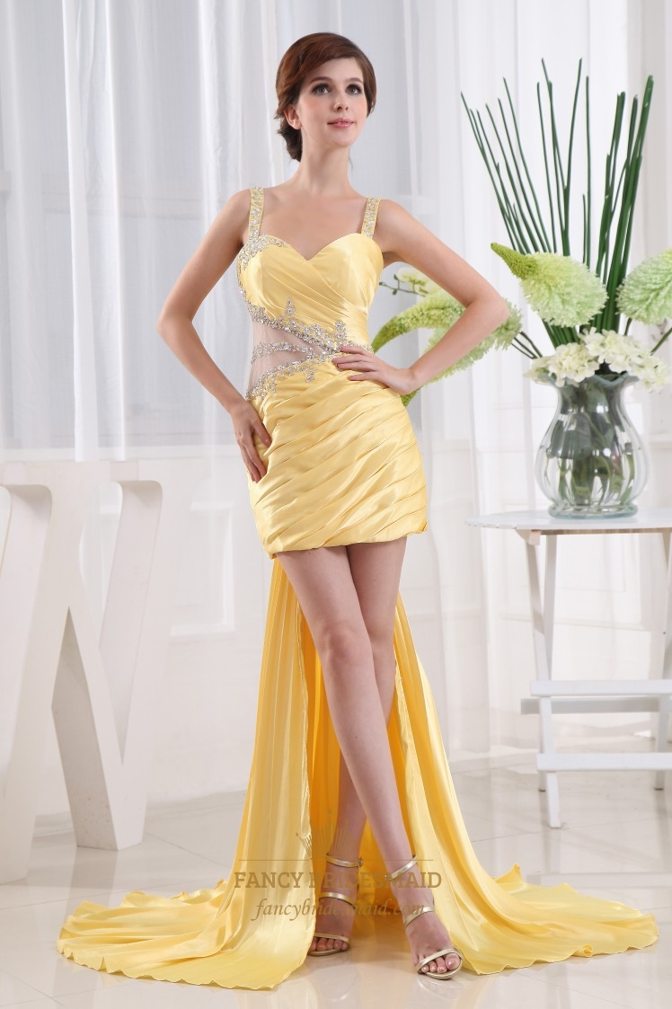 Short Prom Dress With Detachable Train, Yellow High Low Prom Dresses