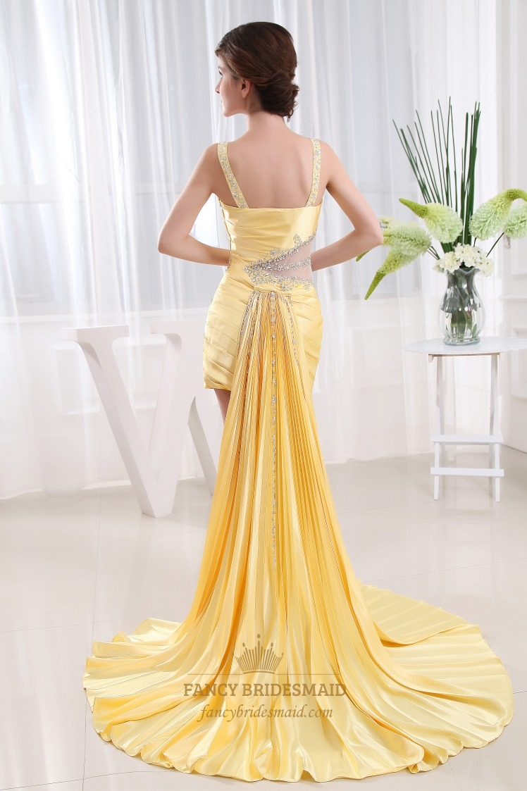 Short Prom Dress With Detachable Train Yellow High Low