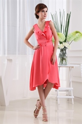 A-Line V-Neck Knee-Length Chiffon Cocktail Dress, Coral Ruffle Front Dress