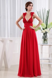 Long Red Chiffon Prom Dress, Chiffon Beaded Illusion Prom Dress
