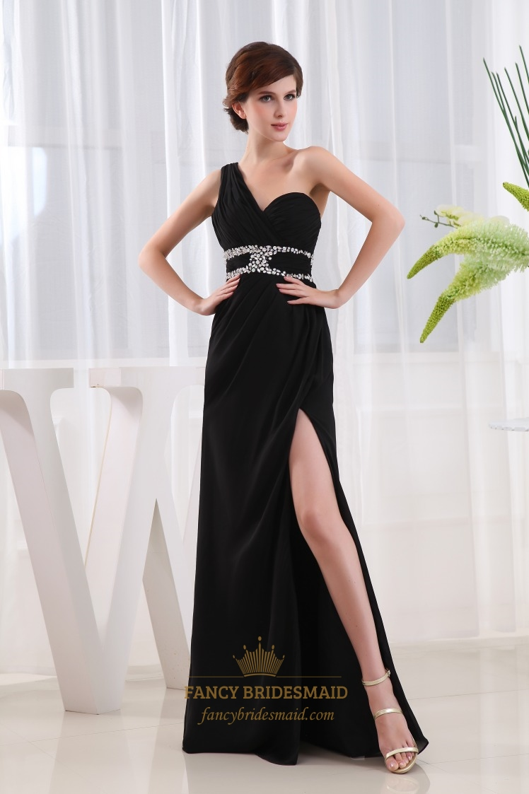 Chiffon Gown With Side Drape And Beaded Detail, Black Evening Gowns With Slits