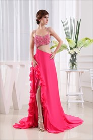 Hot Pink Prom Dresses With Sequins, Side Cut Out Prom Dresses 2019