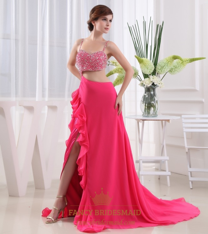 Pink Sequin Prom Dresses 2013 Hot Pink Prom D...