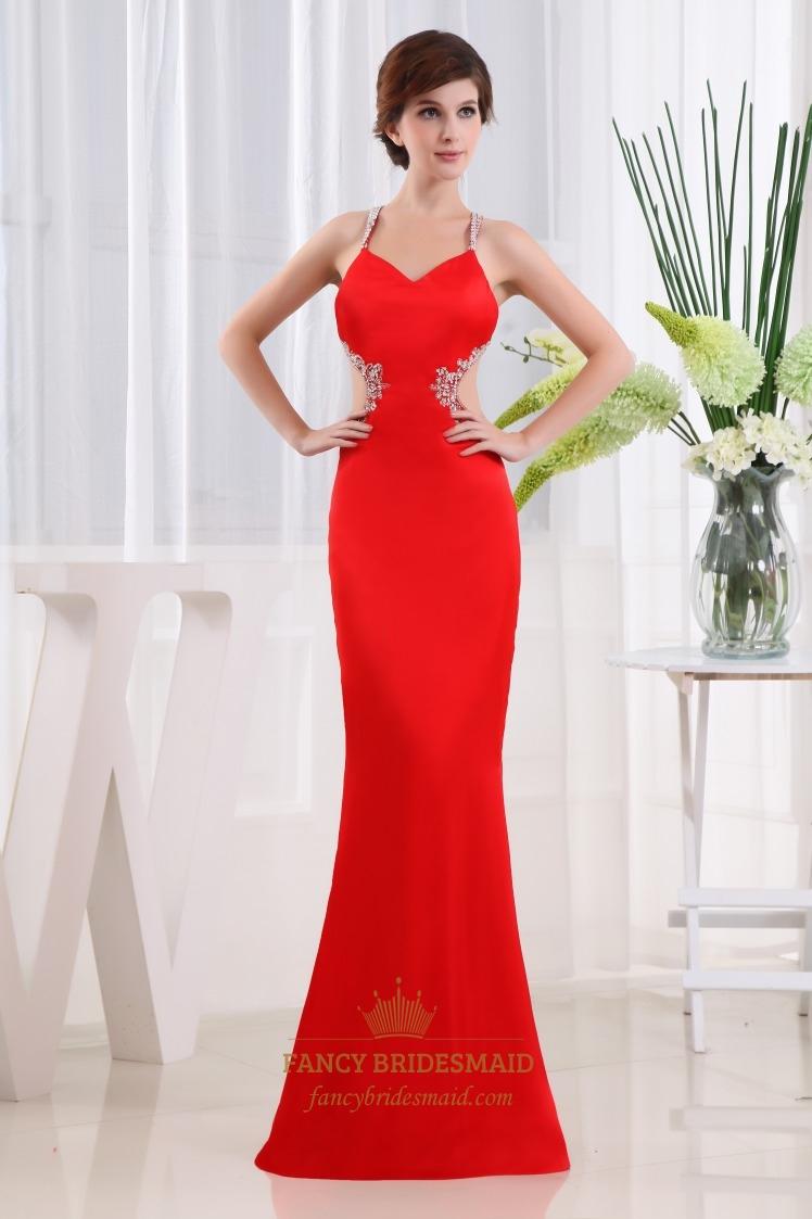 Красное платье рыбка в пол