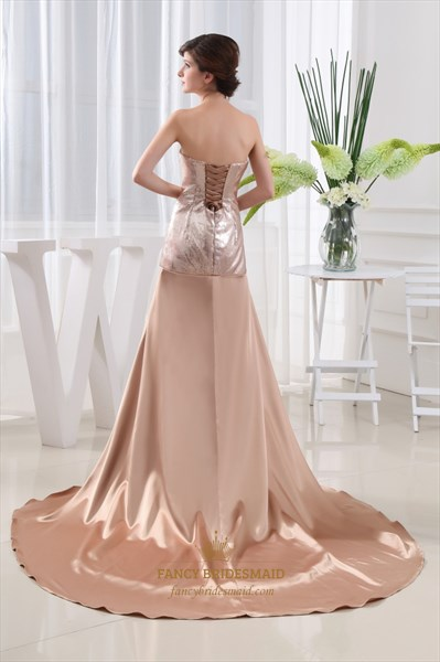 Strapless Sweetheart Sequin Prom Dress, Long Sequin Dress With Split