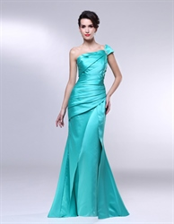 One Shoulder Mermaid Prom Dresses, Ruched One Shoulder Formal Dress