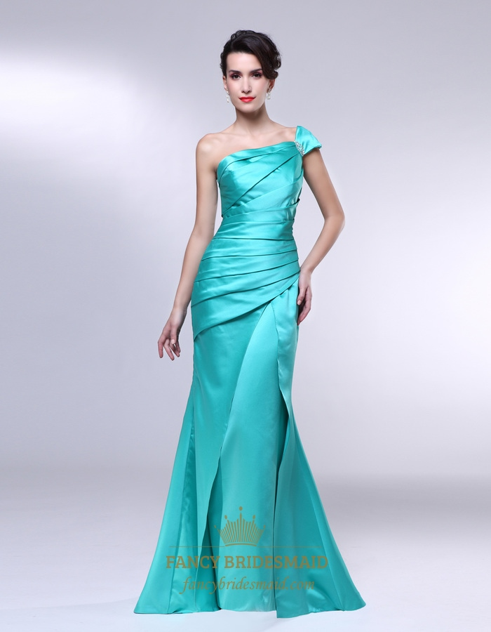 One Shoulder Mermaid Prom Dresses- Ruched One Shoulder Formal ...