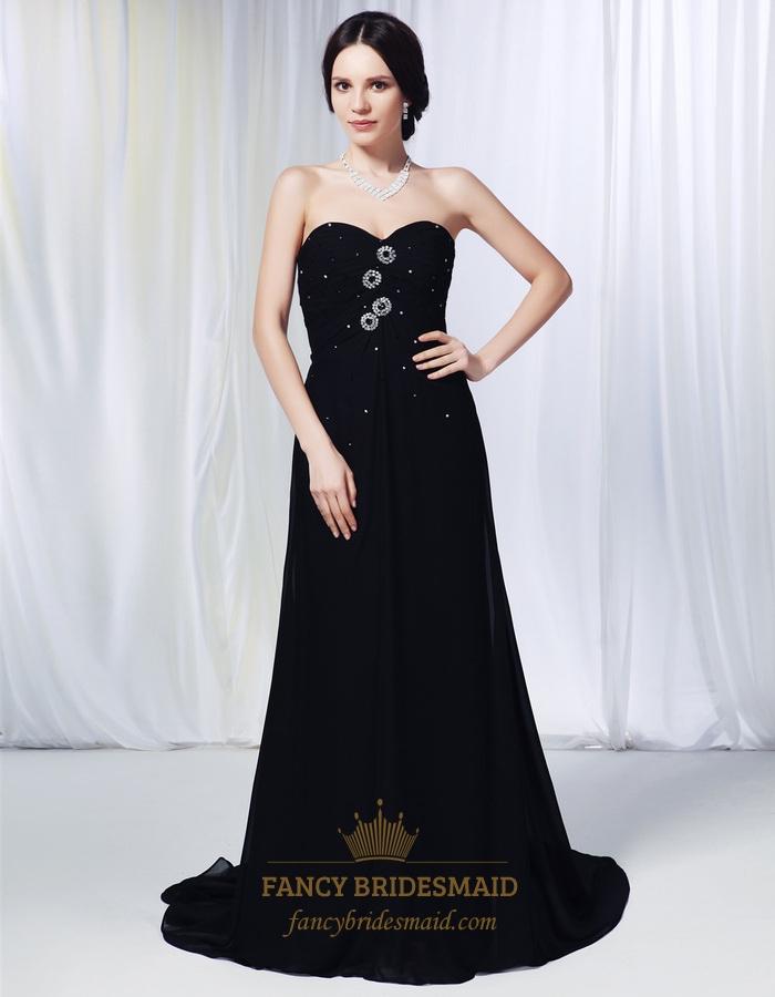 Pleated Chiffon Evening Gowns, Chiffon Strapless Sweetheart Prom ...