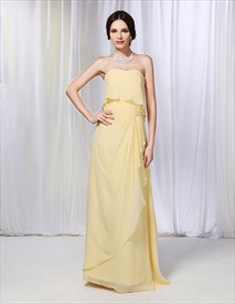 Sweetheart Chiffon Ruched Waist Prom Gown, Long Yellow Prom Dress 2019