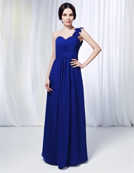 One Shoulder Chiffon Bridesmaid Dress, Royal Blue Chiffon Formal Dress