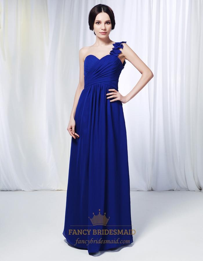 One shoulder chiffon bridesmaid dress royal blue chiffon for Wedding dress with blue detail
