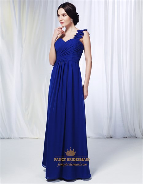 One Shoulder Chiffon Bridesmaid Dress, Royal Blue Chiffon Formal Dress