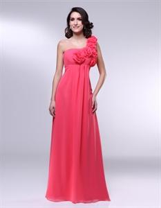 One Shoulder Chiffon Dress With 3d Floral Detail, Empire Waist Chiffon Bridesmaid Dress
