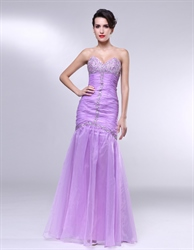 Lavender Strapless Prom Dress, Strapless Sweetheart Mermaid Prom Dress