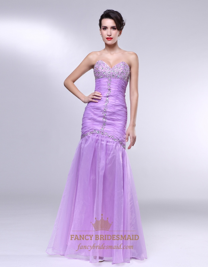 Lavender Strapless Prom Dress, Strapless Sweetheart Mermaid Prom ...
