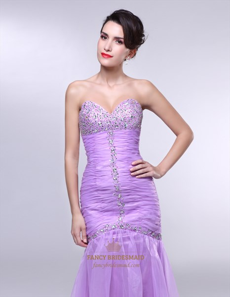 Lavender Strapless Prom Dress, Strapless Sweetheart Mermaid Prom Dress