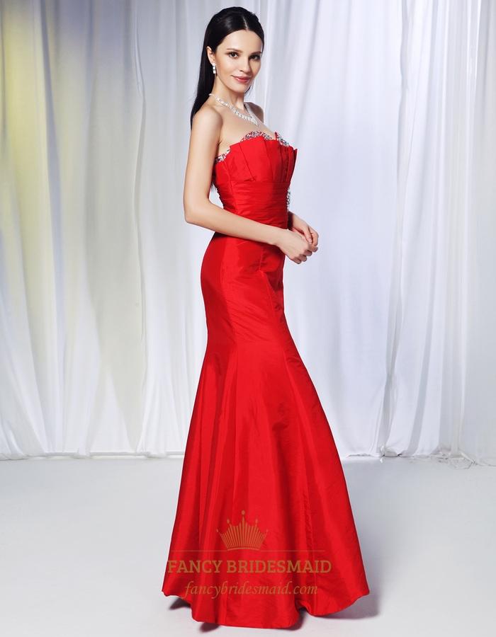 Red Taffeta Mermaid Dress
