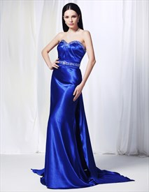 Sapphire Blue Long Prom Dress, Charmeuse Dress With Beaded Spray Back