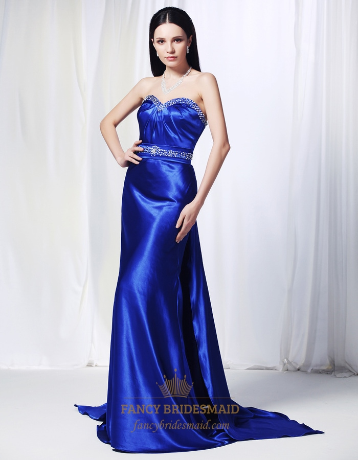 Sapphire Blue Long Prom Dress, Charmeuse Dress With Beaded Spray ...