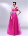 Hot Pink One Shoulder Prom Dress, One Shoulder Dress With Flower Strap
