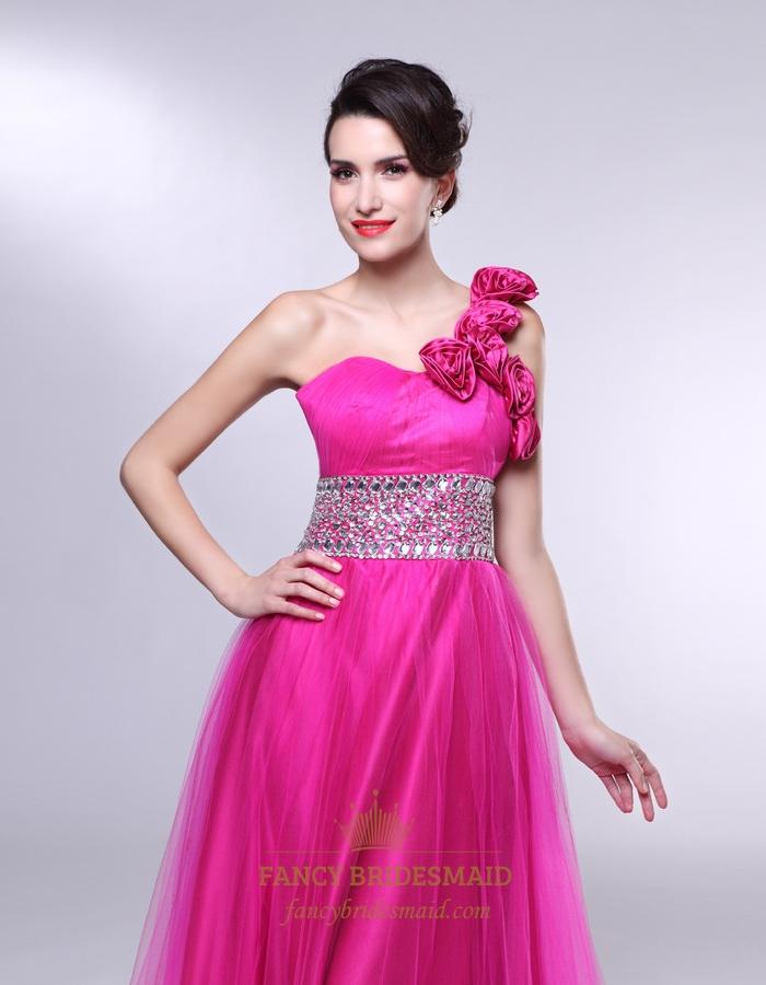 Hot Pink One Shoulder Prom Dress, One Shoulder Dress With Flower ...