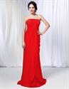 Strapless Chiffon Dress With Jewel Embellishment, Red Chiffon Prom Dress
