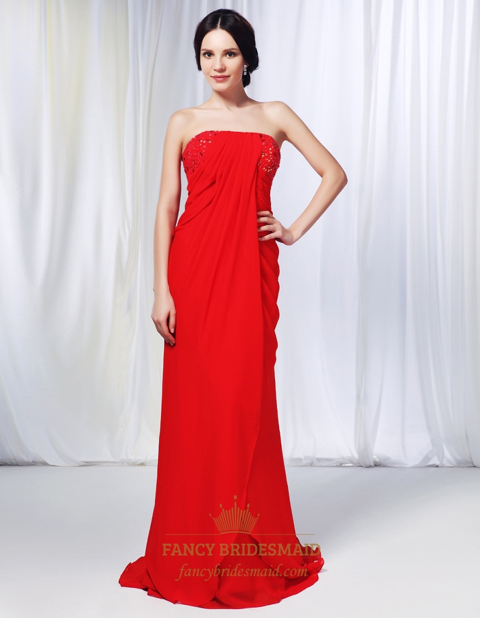 Strapless Chiffon Dress With Jewel Embellishment, Red Chiffon Prom Dress