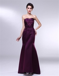 Strapless Mermaid Prom Dress,Eggplant Purple Dresses With Pleated Bust